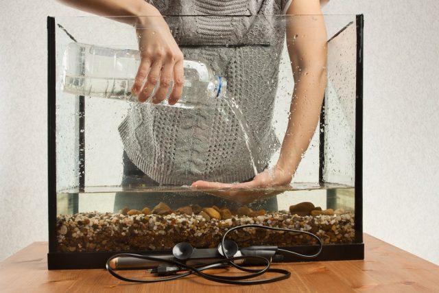 Полная замена воды – это возвращение к самому началу процесса запуска аквариума, что только временно решит проблему