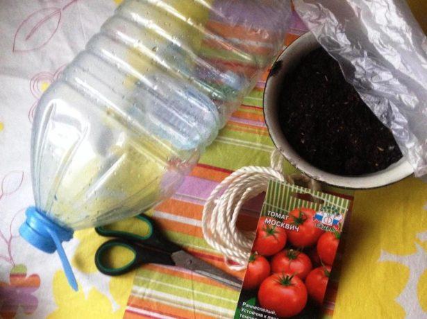 Подручные материалы, необходимые для посева помидоров в бутыли