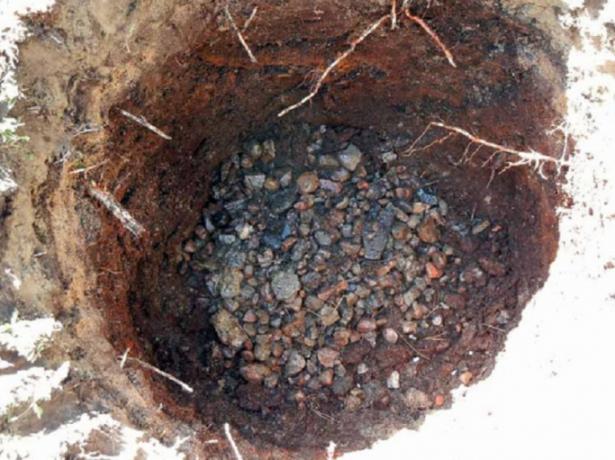 Посадочная яма с дренажным слоем