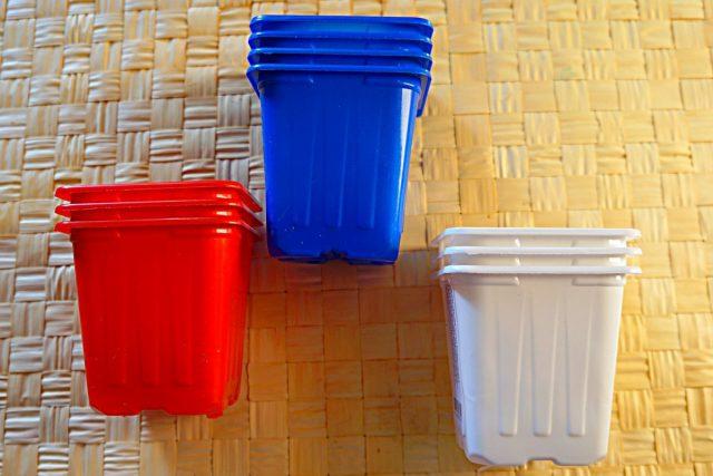 Разноцветные стаканчики удобны для быстрой ориентации в посевах
